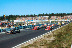 Mario Andretti, Lotus 79 Ford, leads John Watson and Niki Lauda, both Brabham BT46B Alfa Romeos, at the start