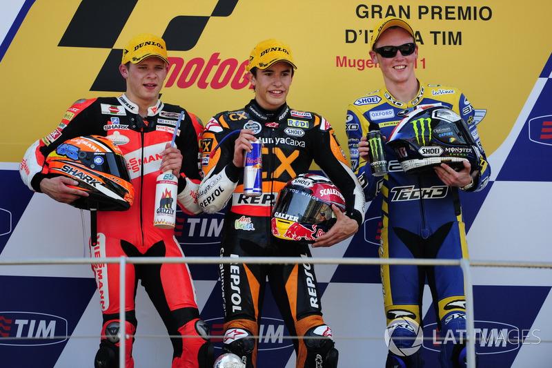Podio: 1º Marc Márquez, 2º Stefan Bradl, 3º Bradley Smith