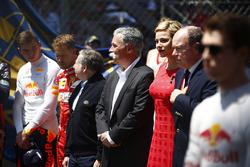 Max Verstappen, Red Bull, Sebastian Vettel, Ferrari, Jean Todt, President, FIA, Chase Carey, Chairman, Formula One, Princess Charlene and Prince Albert II of Monaco stand for the national anthem