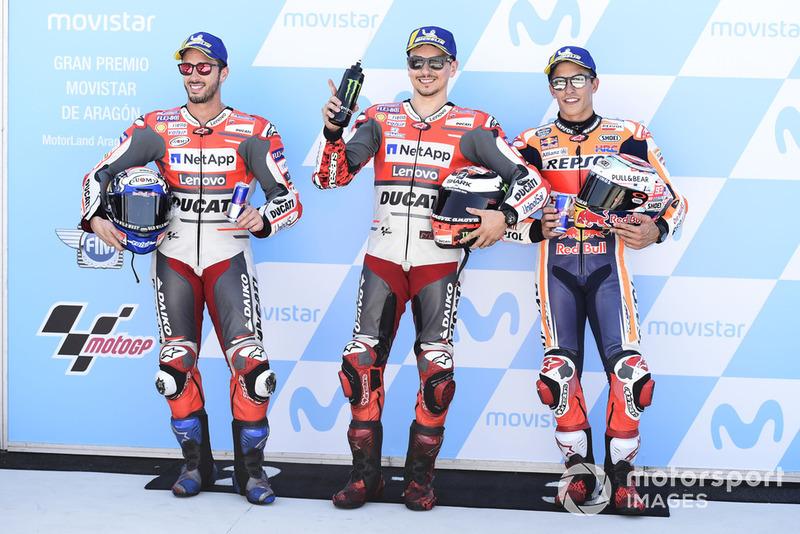 Володар поул-позиції Хорхе Лоренсо, Ducati Team, друге місце Андреа Довіціозо, Ducati Team, третє місце Марк Маркес, Repsol Honda Team
