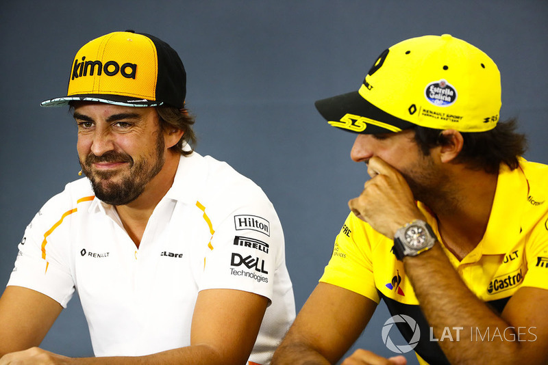 Fernando Alonso, McLaren, and Carlos Sainz Jr., Renault Sport F1 Team, in the Thursday press conference