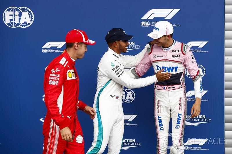 Себастьян Феттель, Ferrari, Льюіс Хемілтон, Mercedes AMG F1, Естебан Окон, Racing Point Force India