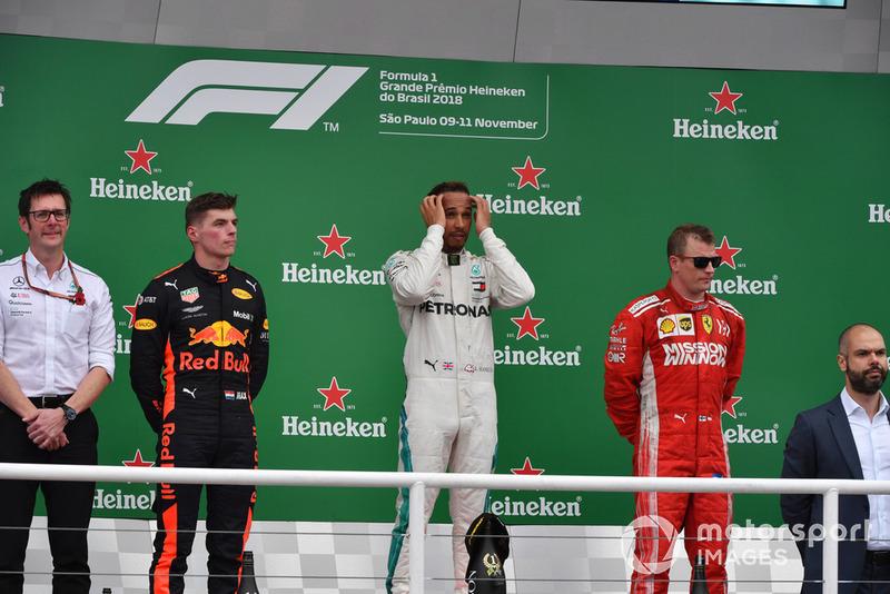Brésil - Podium : Lewis Hamilton, Max Verstappen, Kimi Räikkönen