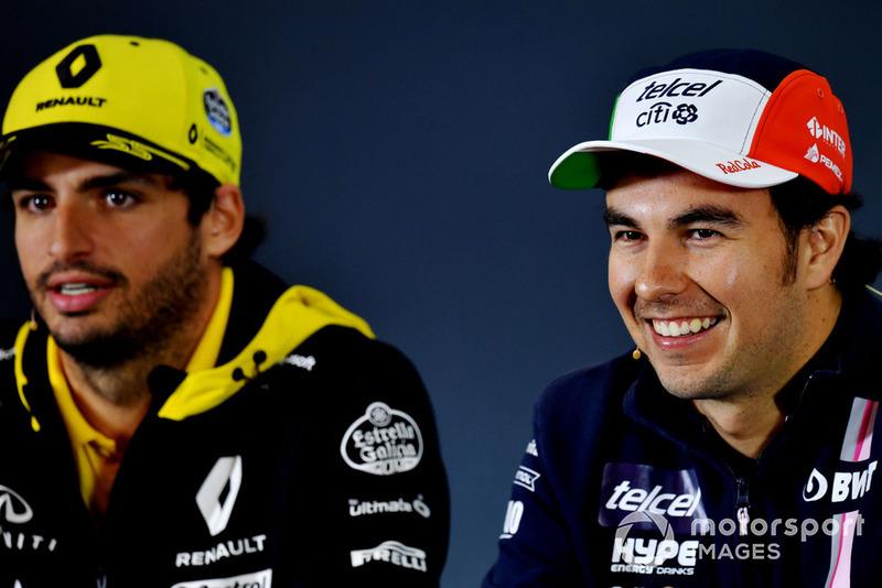Carlos Sainz Jr., Renault Sport F1 Team et Sergio Perez, Racing Point Force India F1 Team, lors de la conférence de presse