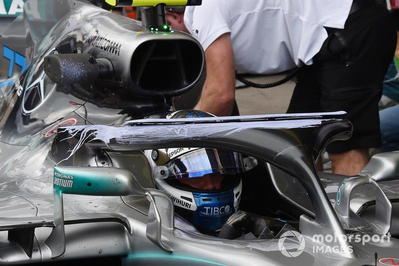 Parafina en el halo de Valtteri Bottas, Mercedes-AMG F1 W09