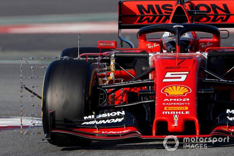 Sebastian Vettel, Ferrari SF90, con sensores aerodinámicos