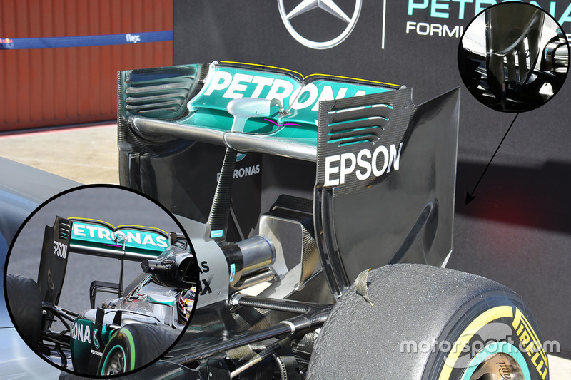 Mercedes AMG F1 W07 rear wing detail
