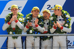 Overall podium: second place Ho-Pin Tung, Oliver Jarvis, Thomas Laurent, DC Racing