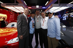 Sean Bratches, Managing Director of Commercial Operations, Formula One Group, Actor Owen Wilson, Ross Brawn, Managing Director of Motorsports, FOM, Chase Carey, Chairman, Formula One, Actor Woody Harrelson in the Cars 3 promotional garage
