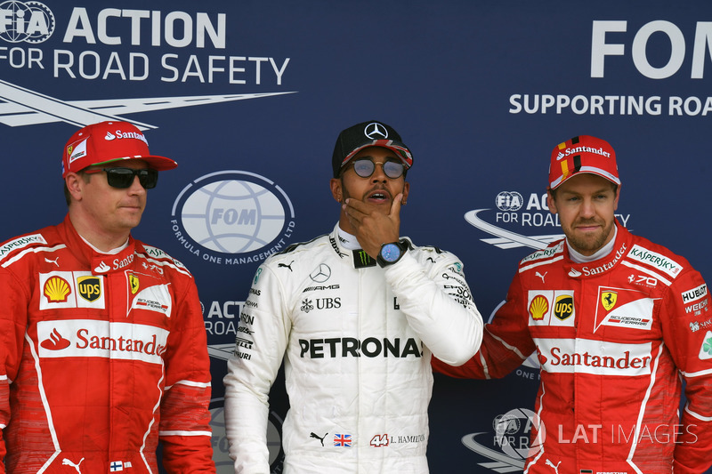 Kimi Raikkonen, Ferrari, Lewis Hamilton, Mercedes AMG F1 y Sebastian Vettel, Ferrari celebran en  parc ferme