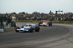 Jackie Stewart, Matra MS80 Ford, leads Jochen Rindt, Lotus 49B Ford