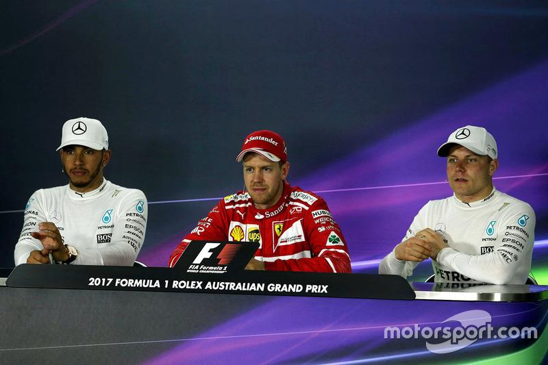 Press conference: winner Sebastian Vettel, Ferrari, second place Lewis Hamilton, Mercedes AMG F1, third place Valtteri Bottas, Mercedes AMG F1