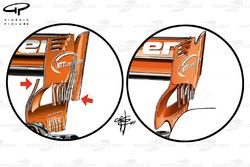 McLaren MCL32, rear wing comprasion