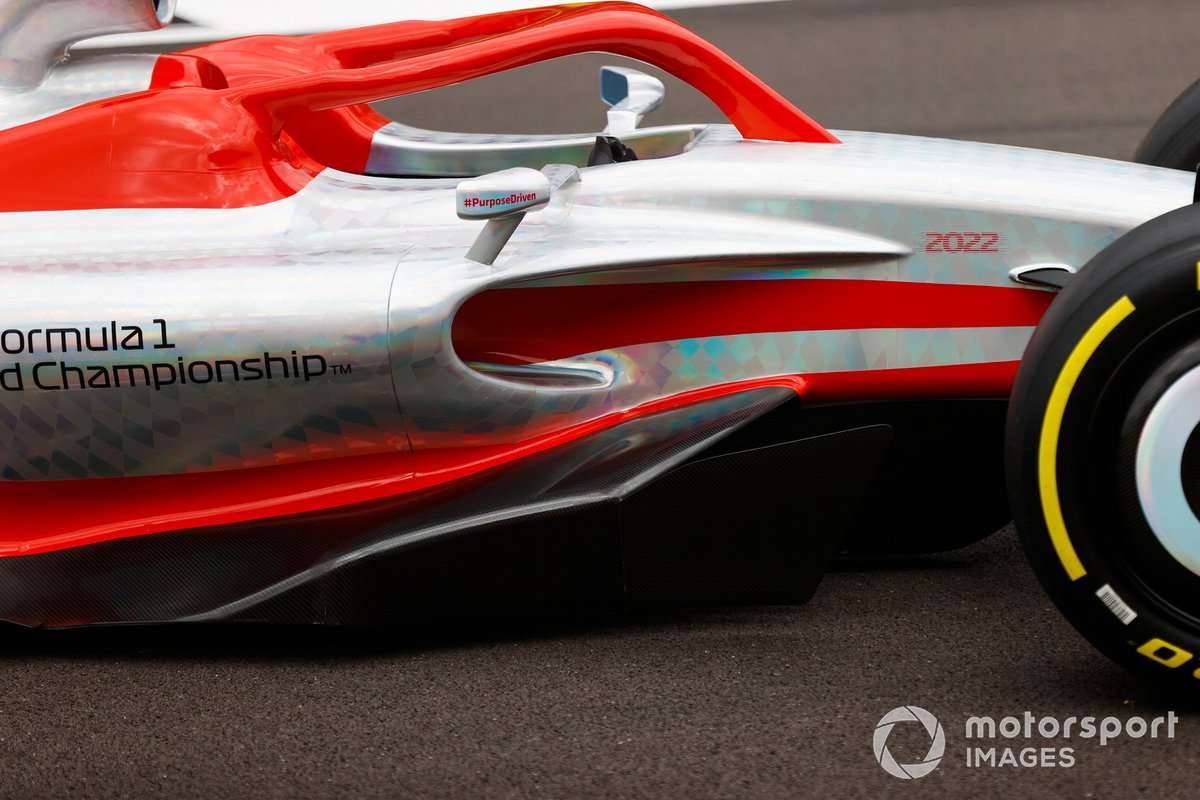 The 2022 Formula 1 car launch event on the Silverstone grid. Sidepod detail
