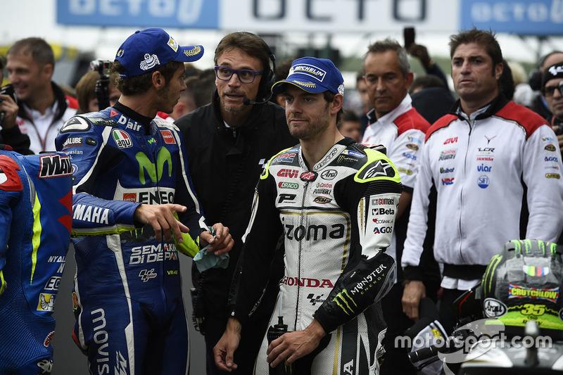 Polesitter Cal Crutchlow, Team LCR Honda, second position Valentino Rossi, Yamaha Factory Racing