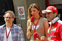 Jacques Villeneuve with Federica Masolin, Sky F1 Italia Presenter and Marc Gene, Ferrari Test Driver