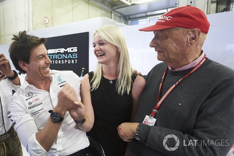 Toto Wolff, Executive Director, Mercedes AMG, Emilia Bottas, Niki Lauda, Non-Executive Chairman, Mercedes AMG