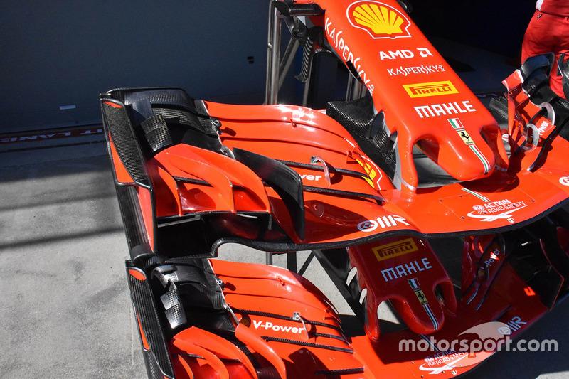 Ferrari SF71H : vue détaillée de l'aileron avant
