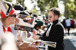 Christian Horner, Team Principal, Red Bull Racing, signs an autograph