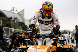 Stoffel Vandoorne, McLaren, climbs out of his car on the grid