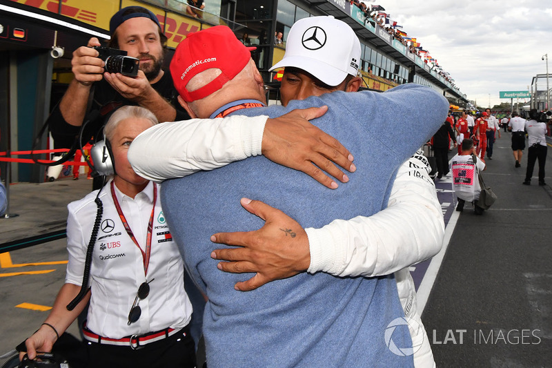 Pole sitter Lewis Hamilton, Mercedes-AMG F1 celebrates in parc ferme with Niki Lauda, Mercedes AMG F