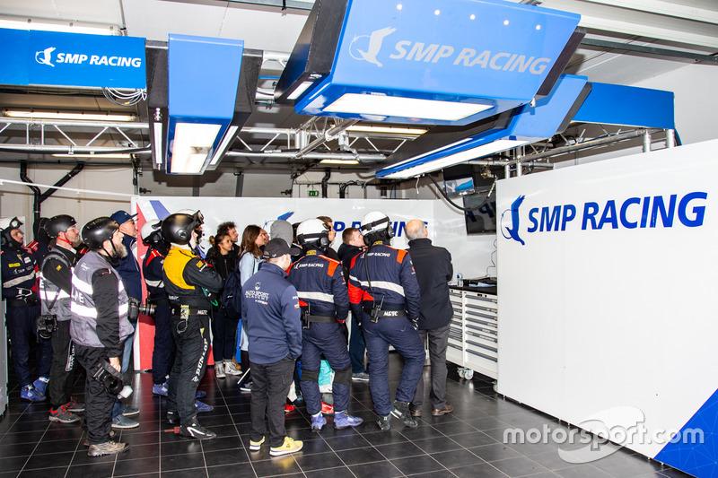 Garage of #35 SMP Racing Dallara P217 - Gibson: Victor Shaitar, Egor Orudzhev, Matevos Isaakyan