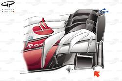 Ferrari SF70H részlet az új első szárnyból, Mexikói GP