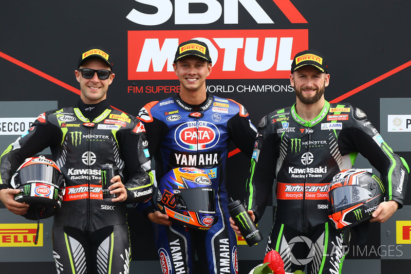 Podium: second place Jonathan Rea, Kawasaki Racing, second place Jonathan Rea, Kawasaki Racing, third place Tom Sykes, Kawasaki Racing