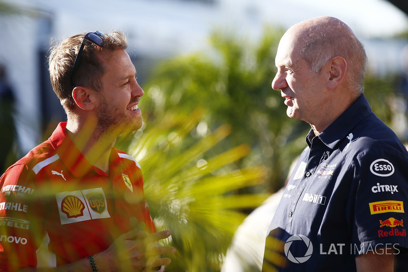 Sebastian Vettel, Ferrari, with Adrian Newey, Chief Technical Officer, Red Bull Racing