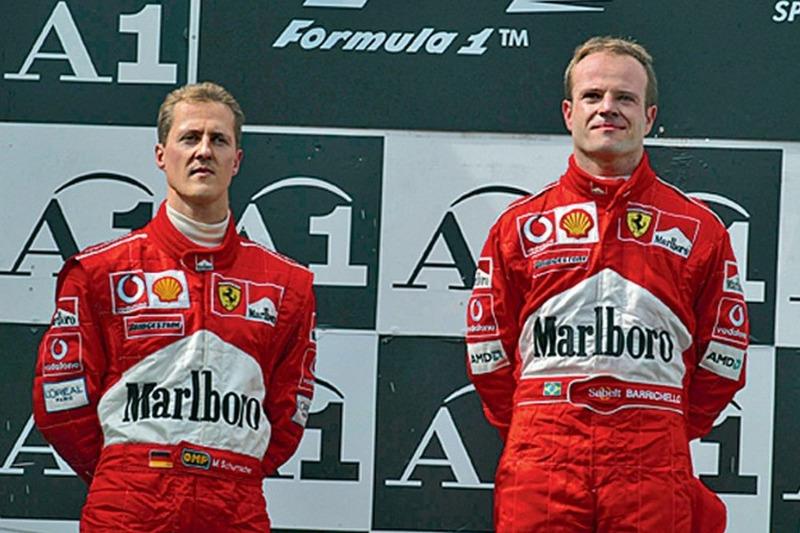 Barrichello ve Schumacher podyumda