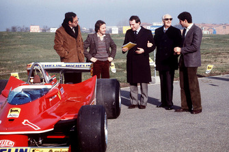 Maranello 1980, Mauro Forghieri, Gilles Villeneuve, Marco Piccinini, Jody Scheckter for the presentation of the Ferrari T5