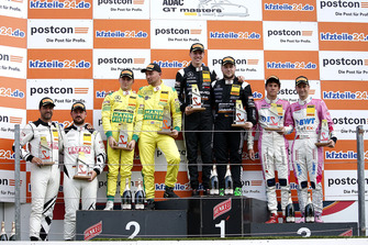 Rookie Podium: Winner #84 AutoArenA Motorsport Mercedes-AMG GT3: Patrick Assenheimer, Raffaele Marciello, second place #48 HTP Motorsport Mercedes-AMG GT3: Indy Dontje, Maximilian Buhk, third place #25 BWT Mücke Motorsport Audi R8 LMS: Ricardo Feller, Christopher Haase