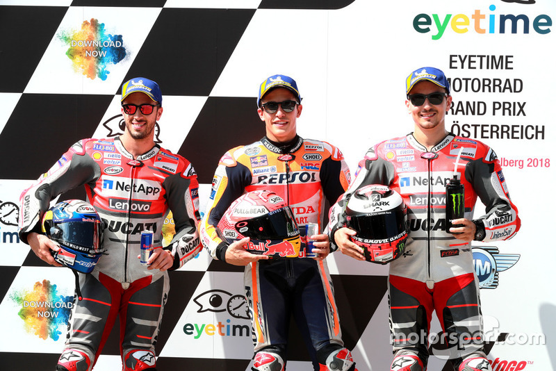 Start terdepan: 1. Marc Marquez, Repsol Honda Team, 2. Andrea Dovizioso, Ducati Team, 3. Jorge Lorenzo, Ducati Team