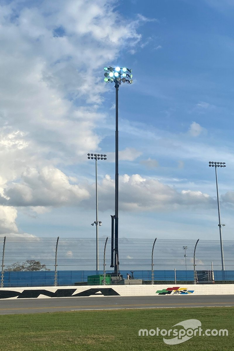 A temporary Musco light at the Daytona Road Course