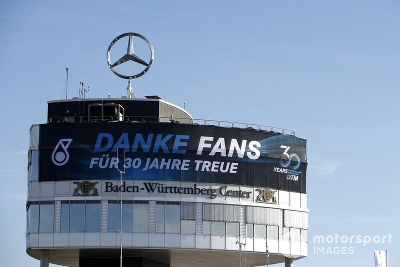 Mercedes banner on the Baden-Würtemberg Center