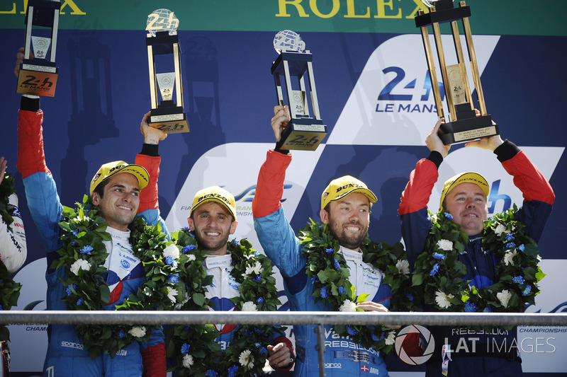Overall podium: third place #13 Vaillante Rebellion Racing Oreca 07 Gibson: Mathias Beche, David Heinemeier Hansson, Nelson Piquet Jr.