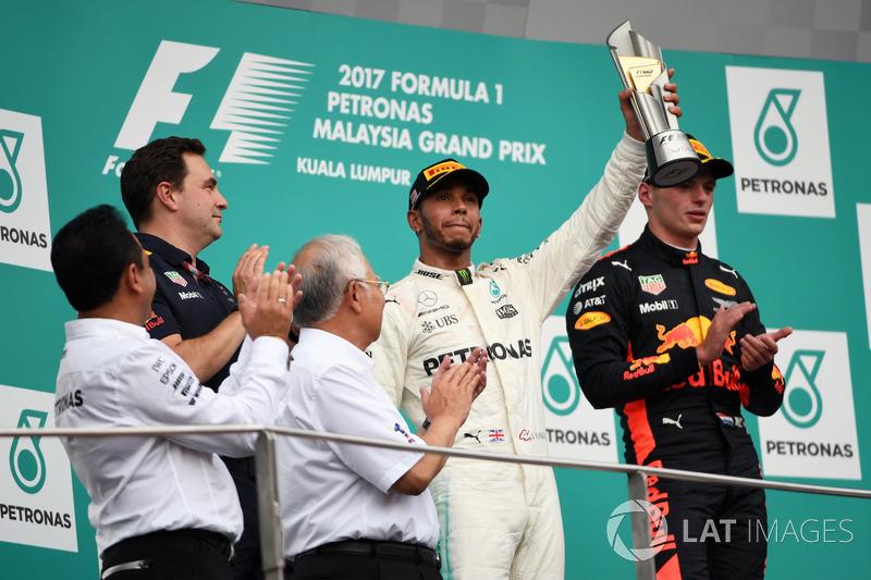 Lewis Hamilton, Mercedes AMG F1 celebrates on the podium