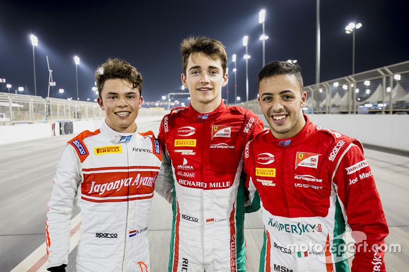 Polesitter Charles Leclerc, PREMA Racing, second place Antonio Fuoco, PREMA Racing, third place Nyck De Vries, Rapax