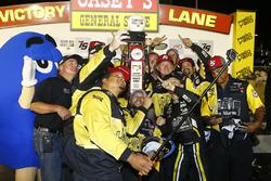 John Hunter Nemechek, SWM-NEMCO Motorsports Chevrolet celebrates his win