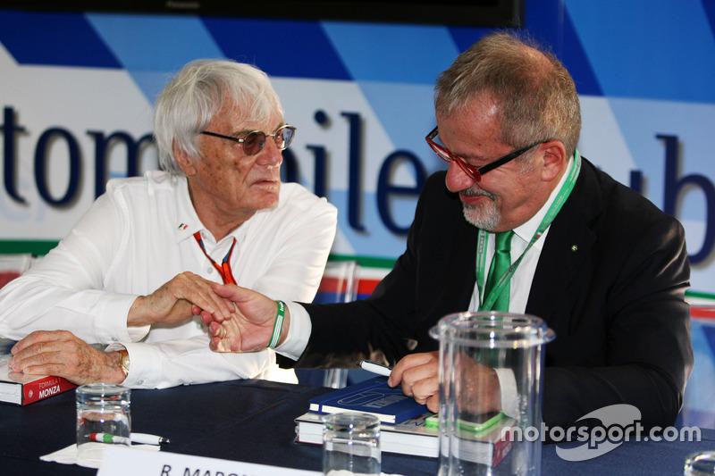 (Da sx a dx): Jean Todt, Presidente FIA con Roberto Maroni, Presidente della Regione Lombardia, all'annuncio al circuito di Monza