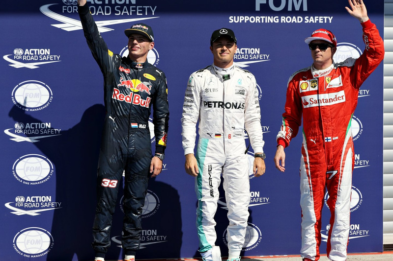 Qualifying: 1. Nico Rosberg, Mercedes AMG F1; 2. Max Verstappen, Red Bull Racing; 3. Kimi Räikkönen, Ferrari