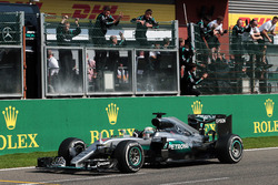 Lewis Hamilton, Mercedes AMG F1 W07 Hybrid celebrates his third position at the end of the race