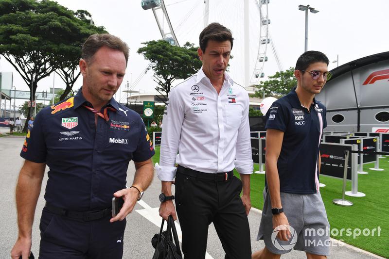 Керівник Red Bull Крістіан Хорнер, Керівник Mercedes AMG Тото Вольфф, Естебан Окон, Racing Point Force India F1 Team