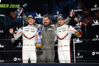 Podio GT Pro: ganadores #92 Porsche GT Team Porsche 911 RSR: Michael Christensen, Kevin Estre