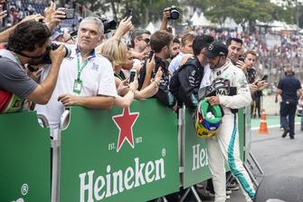 Lewis Hamilton, Mercedes AMG F1 celebrates in Parc Ferme with his mechanics