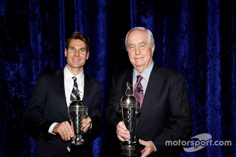 Will Power and Roger Penske with their 'Baby Borgs', commemorating their triumph in the 102nd running of the Indianapolis 500.
