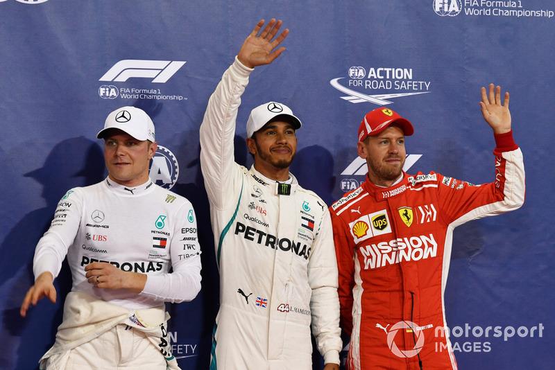 Валттері Боттас, Mercedes AMG F1, Льюіс Хемілтон, Mercedes AMG F1 та Себастьян Феттель, Ferrari
