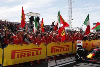 Ferrari team celebrate in parc ferme