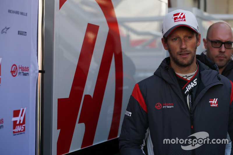 Romain Grosjean, Haas F1 Team, and press officer Stuart Morrison