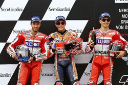Top3 dopo la qualifica: primo Marc Marquez, Repsol Honda Team, secondo Andrea Dovizioso, Ducati Team, terzo Jorge Lorenzo, Ducati Team